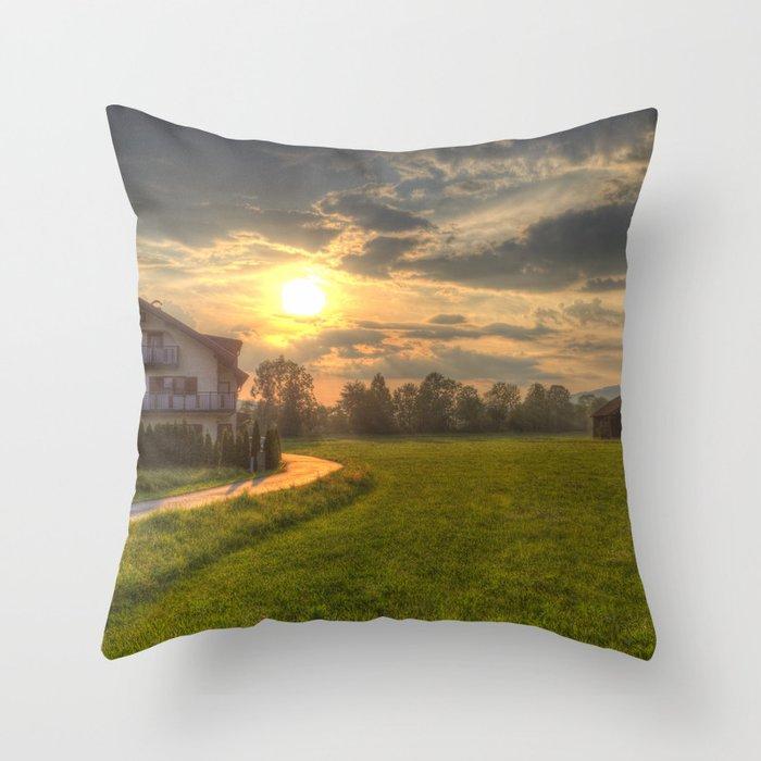 Saint Lorenz Austrian Alps Sunset Throw Pillow