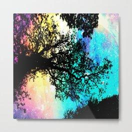 Black Trees Colorful Space bright Metal Print