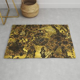 Faux gold snake skin texture on dark marble Rug