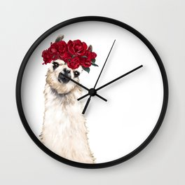 Sexy Llama with Roses Crown Wall Clock