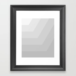 White,gray, horizontal, diagonal stripe Framed Art Print