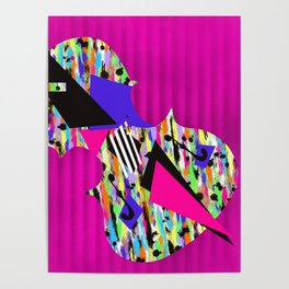 Cello Abstraction on Hot Pink Poster