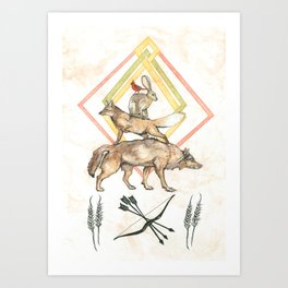 AZTEC Animals with Bow Art Print