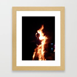 Big fire texture closeup Framed Art Print