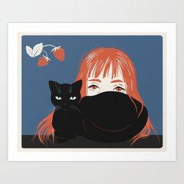 Hiding Behind a Black Cat Art Print