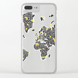 Abstract World Map Clear iPhone Case