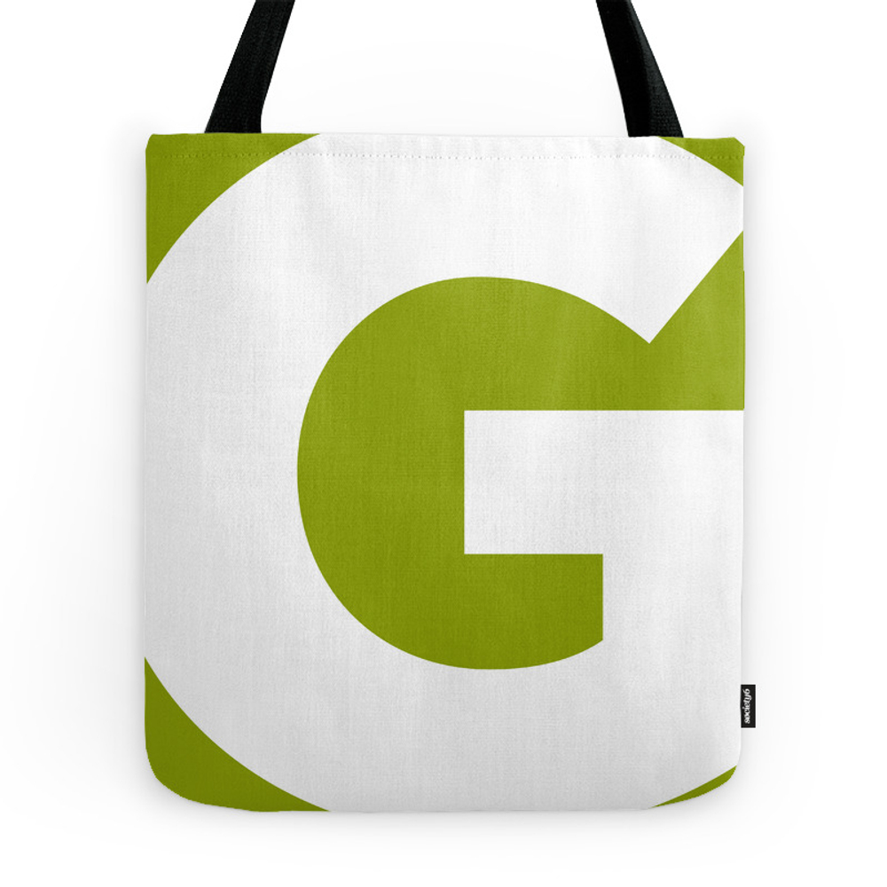 Sans Serif G. White on Green. Tote Purse by vanetcetera (TBG7261297) photo