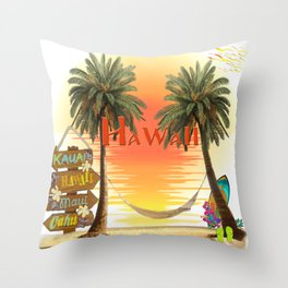 Hawaiian Tropical Sunset Throw Pillow