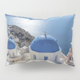 Santorini Island with churches and sea view in Greece Pillow Sham
