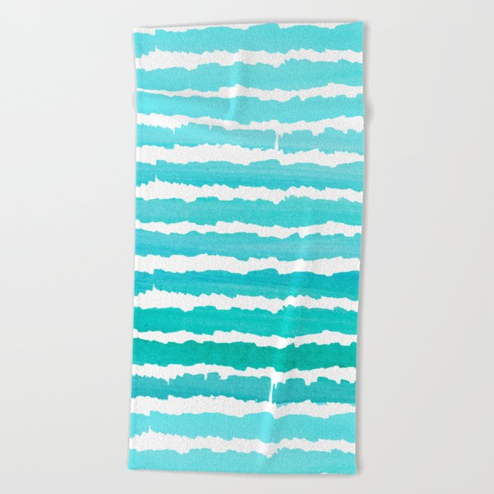 Maritime pattern- Simply aqua handpainted stripes on clear white- horizontal Beach Towel