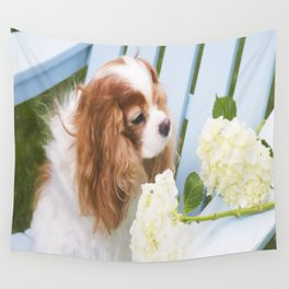 Cavalier King Charles With Hydrangeas Wall Tapestry