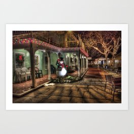 Christmas Decoration With Snowman Art Print