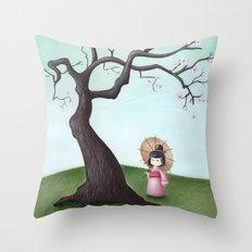 Japanese Cherry Tree Throw Pillow