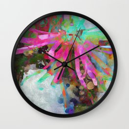 Floral Burst in Pink and Turquoise Wall Clock