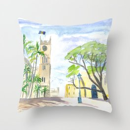 Street Scene in Bridgetown Barbados Throw Pillow