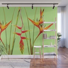 3 Exotic Jungle Flowers Helikonias green background Wall Mural