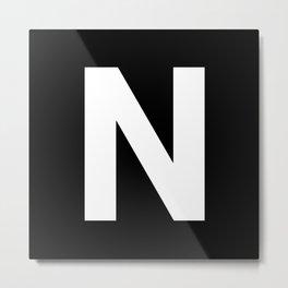 Letter N (White & Black) Metal Print