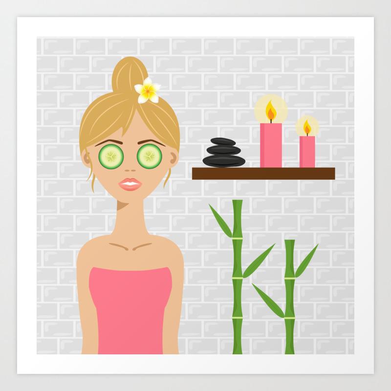 Cute Blonde Spa Woman Cartoon Illustration Art Print By Destei Society6
