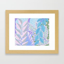 Modern Jungle Plants - Blue, Purple Framed Art Print
