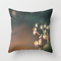 lanterns Throw Pillows featuring Lanterns by Claire Westwood illustration