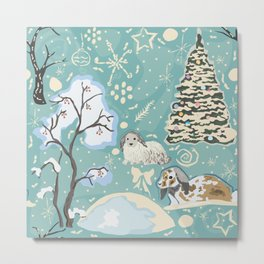 Winter Seamless Pattern with bunnies, spruce trees and berry trees Metal Print