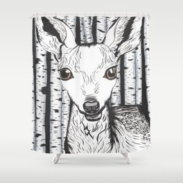 Ink and watercolor black and white doe/deer in the forest Shower Curtain