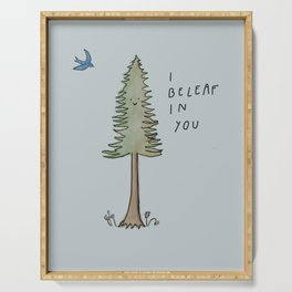 I Beleaf in You / Evergreen and Bluebird Uplifting Print Serving Tray