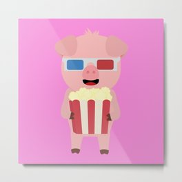 Cinema Pig with Popcorn Metal Print