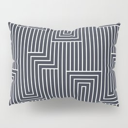 White & Dark Blue Art Decor Pattern 2 Inspired by 2020 Color of the Year  Classic Navy Blue Pillow Sham
