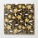 Abstract,floral pattern. Golden flowers on a black background. by marinaklykva