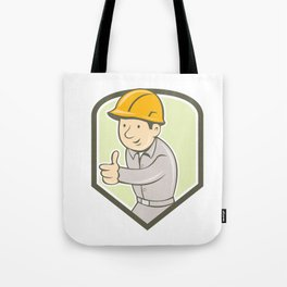 Builder Construction Worker Thumbs Up Circle Cartoon Tote Bag