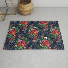 Super-saturated Leopard Print Floral Rug