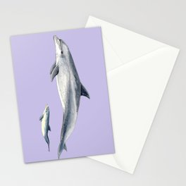 Bottlenose dolphin purple background Stationery Cards