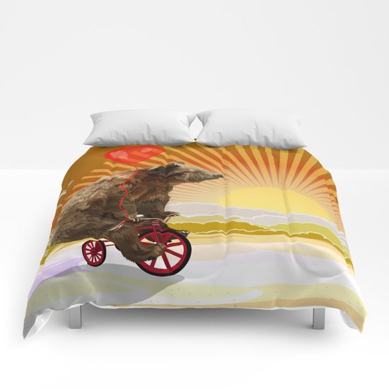 Big Bear with bicycle iPhone 4 4s 5 5s 5c, ipod, ipad, pillow case and tshirt Comforters