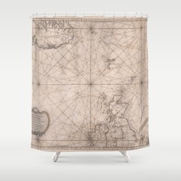 Portolan map of the North Sea, the Norwegian Sea with adjacent coast and countries 1768 Shower Curtain