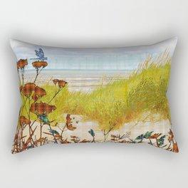 Plaid Beachscape with Dragonflies Rectangular Pillow