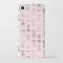 Girly rose gold & blush pink pineapple pattern iPhone Case