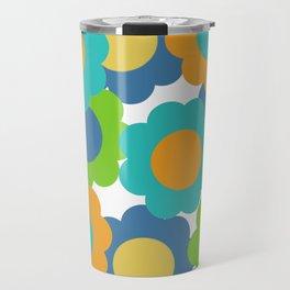 Retro Vintage Bundle of Flowers - Turquoise Travel Mug