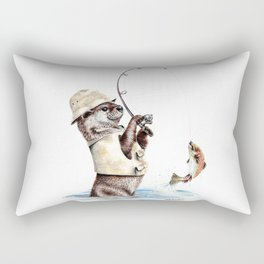 """ Natures Fisherman "" fishing river otter with trout Rectangular Pillow"