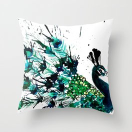 Peacock profile ink splatter Throw Pillow