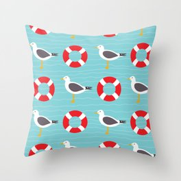 Segulls and life ring on wavy blue Throw Pillow