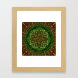 Earth Flower Mandala Framed Art Print