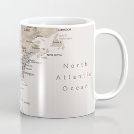 World map with cities in brown and light gray Coffee Mug