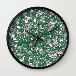 Green and White Camo Wall Clock