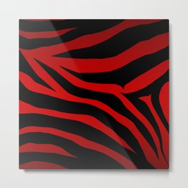 Rare Red Zebra Metal Print