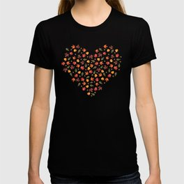 Autumn Leaves Pattern Black Background T-shirt