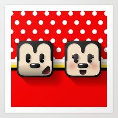 sweethearts, mickey and minnie Art Print