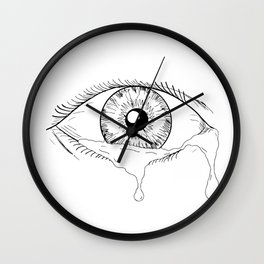 Human Eye Crying Tears Flowing Drawing Wall Clock