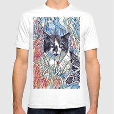 Here Kitty Kitty Mens Fitted Tee White MEDIUM