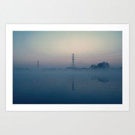 Foggy Morning At Chasewater Art Print
